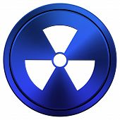 image of radium  - Metallic radiation icon with white design on blue background - JPG