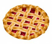 pic of cherry pie  - vector delicious cherry pie on white background - JPG
