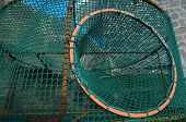 Empty Green Net Fish Traps