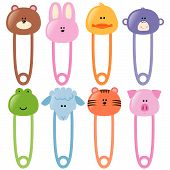 image of baby pig  - Various baby animals safety pins in vector format - JPG