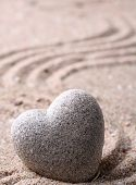 picture of zen  - Grey zen stone in shape of heart - JPG