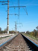 image of railroad yard  - railroad track vanishing into the distance - JPG