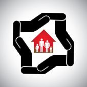pic of personal safety  - protection or safety of house or home with family concept vector - JPG