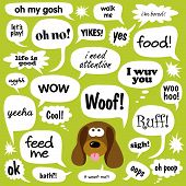 image of droopy  - Various Phrases in comic bubbles with dog vector - JPG