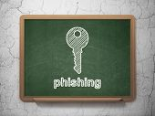 Privacy concept: Key and Phishing on chalkboard background