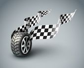 Sport racing wheel with flapping flags - eps10 vector illustratio