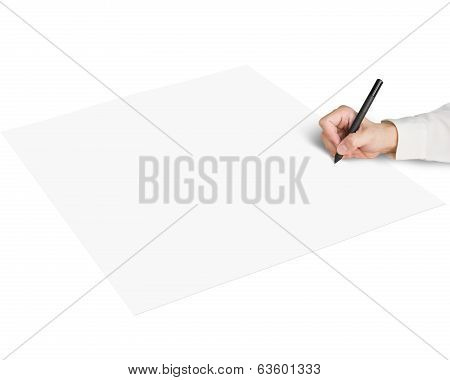 Holding Pen Writing On Blank Paper