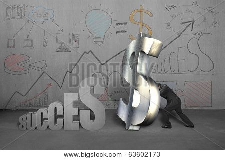 Trying To Stand Money Symbol For Success With Business Doodles