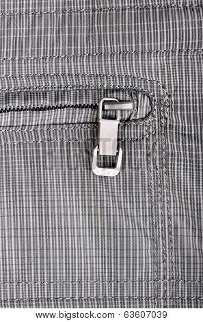 Close up shot of clothes zipper pocket