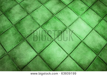 Background Surface Of Green Tiles