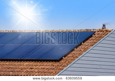 Solar Panel On A Rooftop