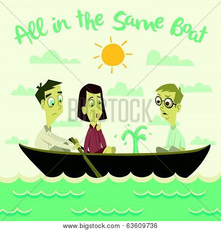 All in The Same Boat Illustration