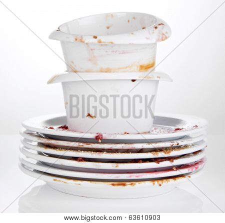 Dirty dishes isolated on white
