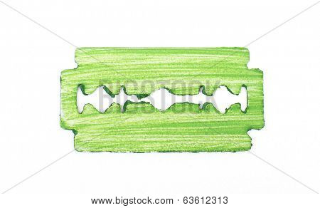 Razor blade on grey background