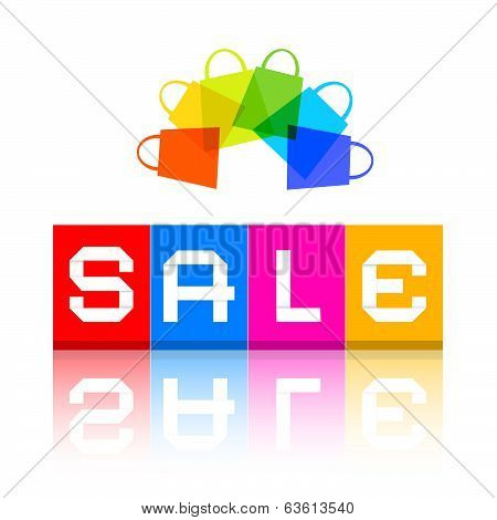 Sale Title and Colorful Shopping Bags