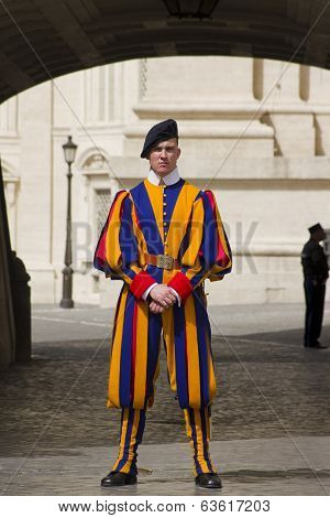 Swiss Guard Outside Vatican under arch