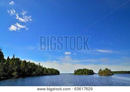 Beautiful  Karelian Landscape. Lake Engozero, Russia