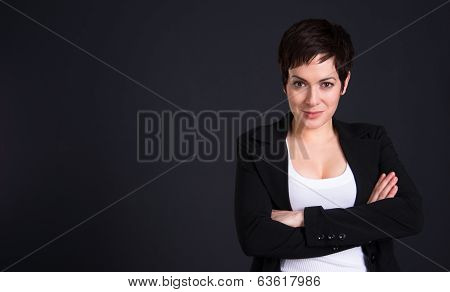 Happy Brunette Woman Draws Attention Business Female Office Portrait