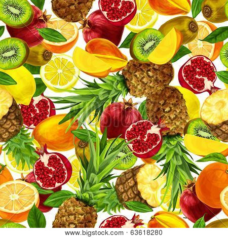 Tropical sliced fruits seamless background
