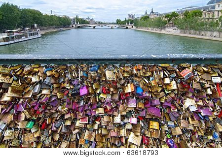 Pont des Arts key Bridge across Seine river