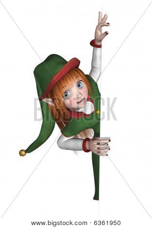 Christmas Elf Looking Around An Edge