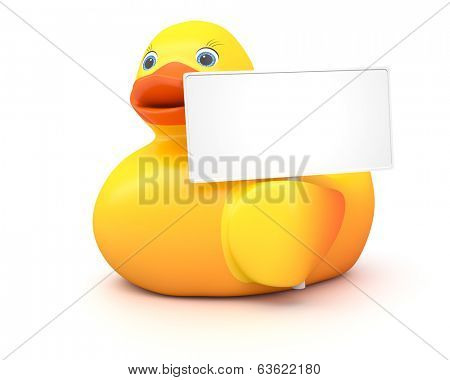An image of a nice rubber duck with a blank sign