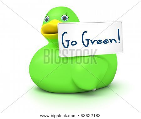 An image of a green ducky with a go green sign