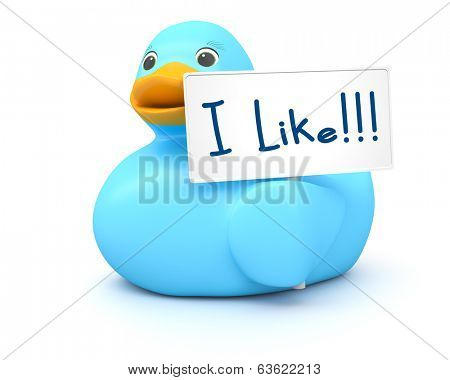 An image of a sweet blue ducky with I like sign