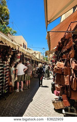 narrow pedestrians street of Chania