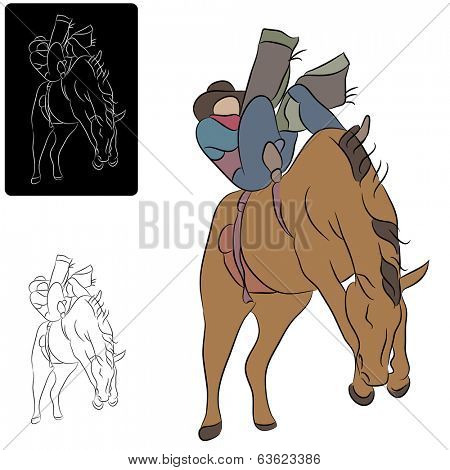 An image of a cowboy riding a bucking horse.