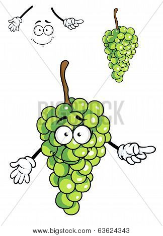 Laughing happy bunch of green cartoon grapes