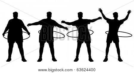 Editable vector sequence of a man losing weight through hula hoop exercise with figures and hoops as separate objects