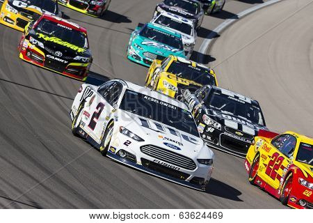 Las Vegas , NV - Mar 09, 2014:  Brad Keselowski (2) battles for position during the Kobalt Tools 400 race at the Las Vegas Motor Speedway  in Las Vegas , NV.