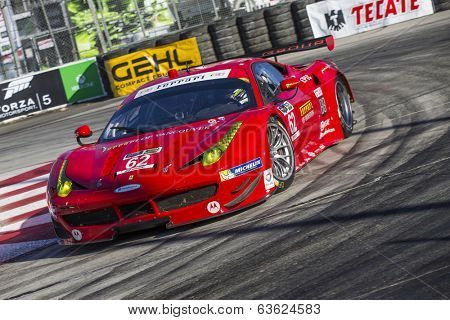 Long Beach, CA - Apr 11, 2014:  Risi Competizione Ferrari races through the turns at the TUDOR United SportsCar Championship of Long BeachatGrand Prix of Long BeachinLong Beach,CA.