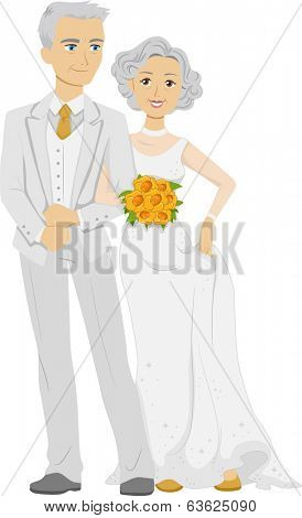 Illustration of an Elderly Couple Wearing a Bridal Gown and a Tuxedo on Their Golden Wedding Anniversary