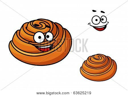 Happy delicious cartoon sticky bun