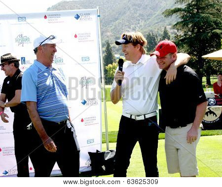 LOS ANGELES - APR 14:  Dennis Wagner, Jack Wagner, Tim Curren at the Jack Wagner Anuual Golf Tournament benefitting LLS at Lakeside Golf Course on April 14, 2014 in Burbank, CA