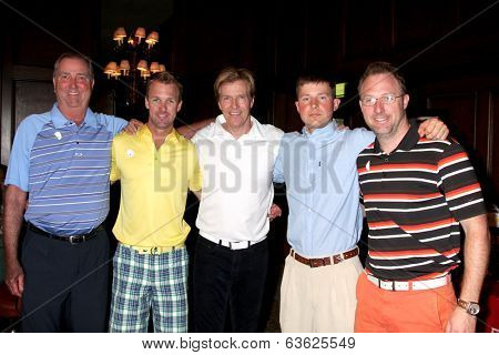LOS ANGELES - APR 14:  Dennis Wagner and sons, with Jack Wagner and son Peter Wagner at the Jack Wagner Anuual Golf Tournament benefitting LLS at Lakeside Golf Course on April 14, 2014 in Burbank, CA