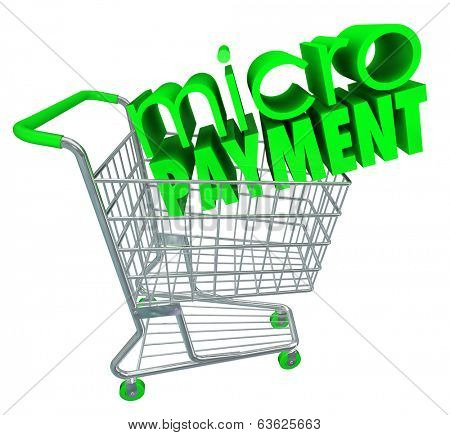 Micro Payment Words Shopping Cart Internet Store Send Cash