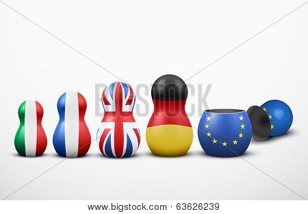 Main members of the European Union in the form of nesting dolls with flag colors