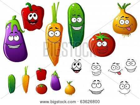 Cartoon vegetables with funny emotions