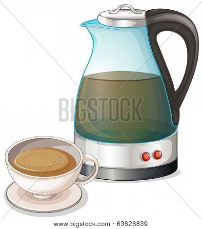 Illustration of a chocolate drink on a white background