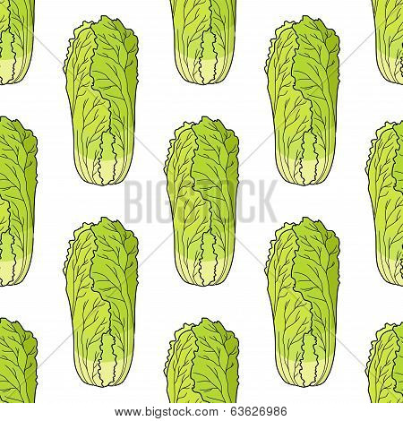 Seamless pattern of Chinese lettuce