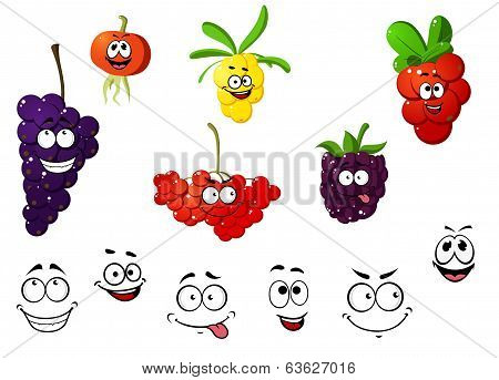 Fresh cartoon berries set
