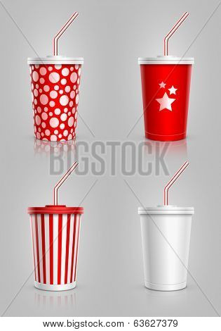 Disposable cups for beverages with straw collection. Vector illustration.