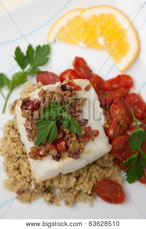 Halibut With Olive Tapenade Crust