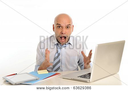 Young Bald Attractive Business Man Desperate With Computer At Work