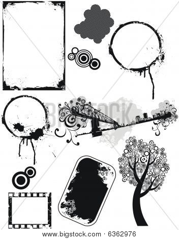 Set of grunge  vector  elements