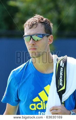 Professional tennis player Jerzy Janowicz from Poland after practice for US Open 2013
