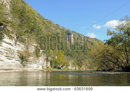 Chimney rock along upper iowa river